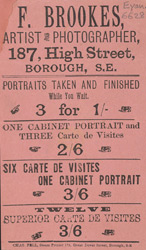 Advertisement for F Brookes, artist and photographer